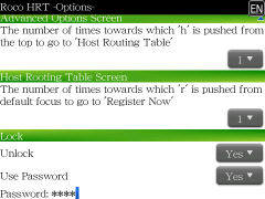 2010/09/15 BlackBerry用Host Routng Table自動登録アプリ